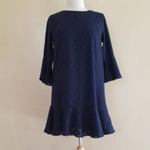 NWT She & Sky Scoop Neck Dress. Flowy Arms. Navy!